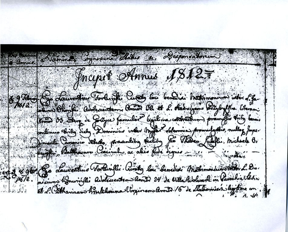 1812 Marriage Record in Poland