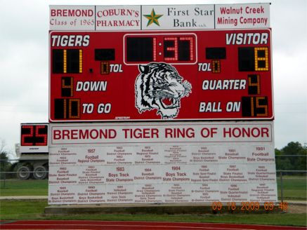 BHS Class of 1965 a sponsor of new Tiger Scoreboard in 2009  NOTE:  Bremond 11, Grosbeck 8 with 1 minute 37 seconds left in 1964