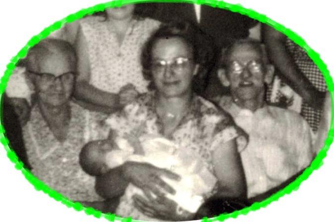 June 1955 Helen's baptism, her mother Helen Nowak Okonski, and grandparents Sophie & Michael Nowak