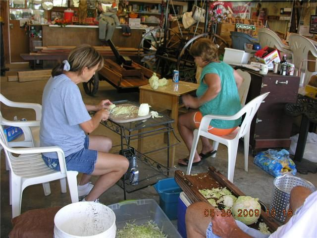 Helen, Mary Ann, and Jack Cutting Cabbage