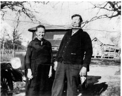 "Joseph and Victoria Okonski on Nov 29, 1929 at ""Okonski Homeplace"""