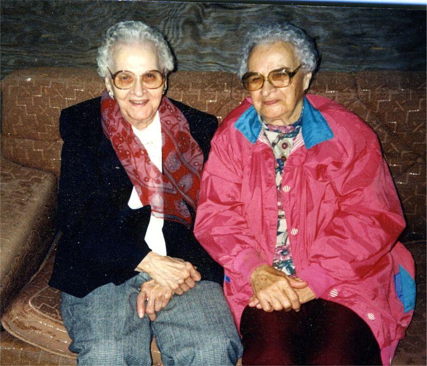 Vicky Okonski and Helen Okonski 1990's in Barn