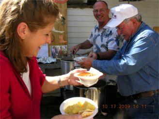 Paul Bilski & Eddie Okonski - serving, Theresa Peck