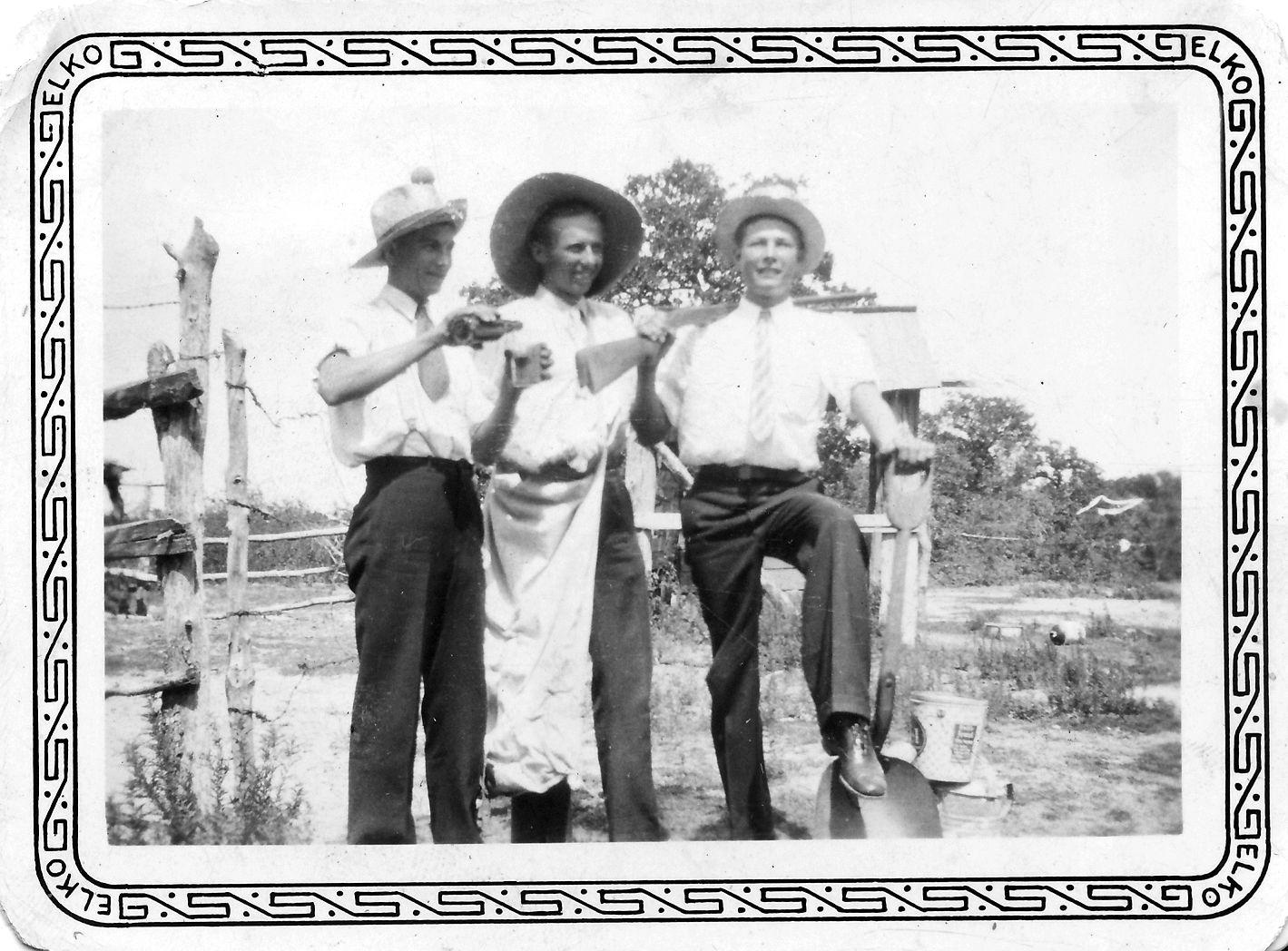 Harry Okonski, Lee Yazak, Steve Okonski  Bremond, TX 1930's