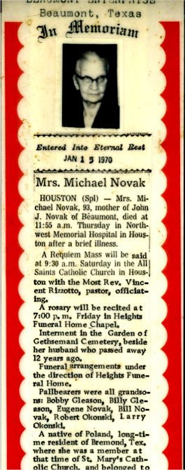 Sophie Novak died Jan 15, 1970