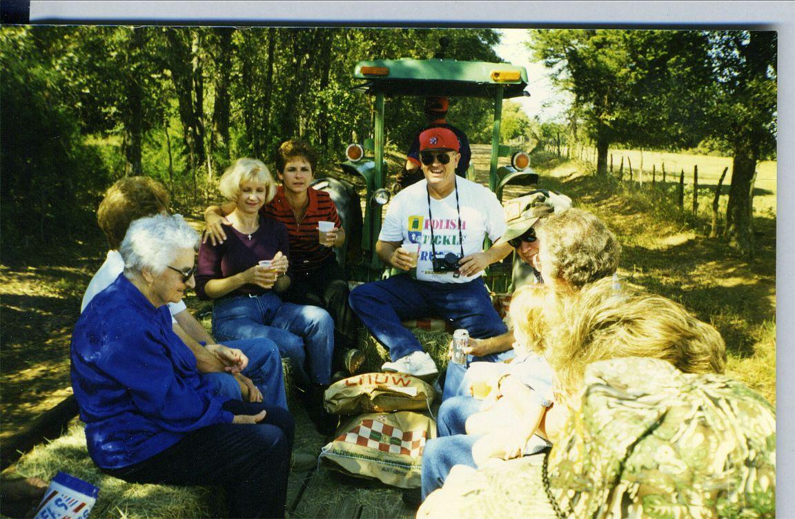 Helen, Gene, Dolores, Mary Ann on hayride
