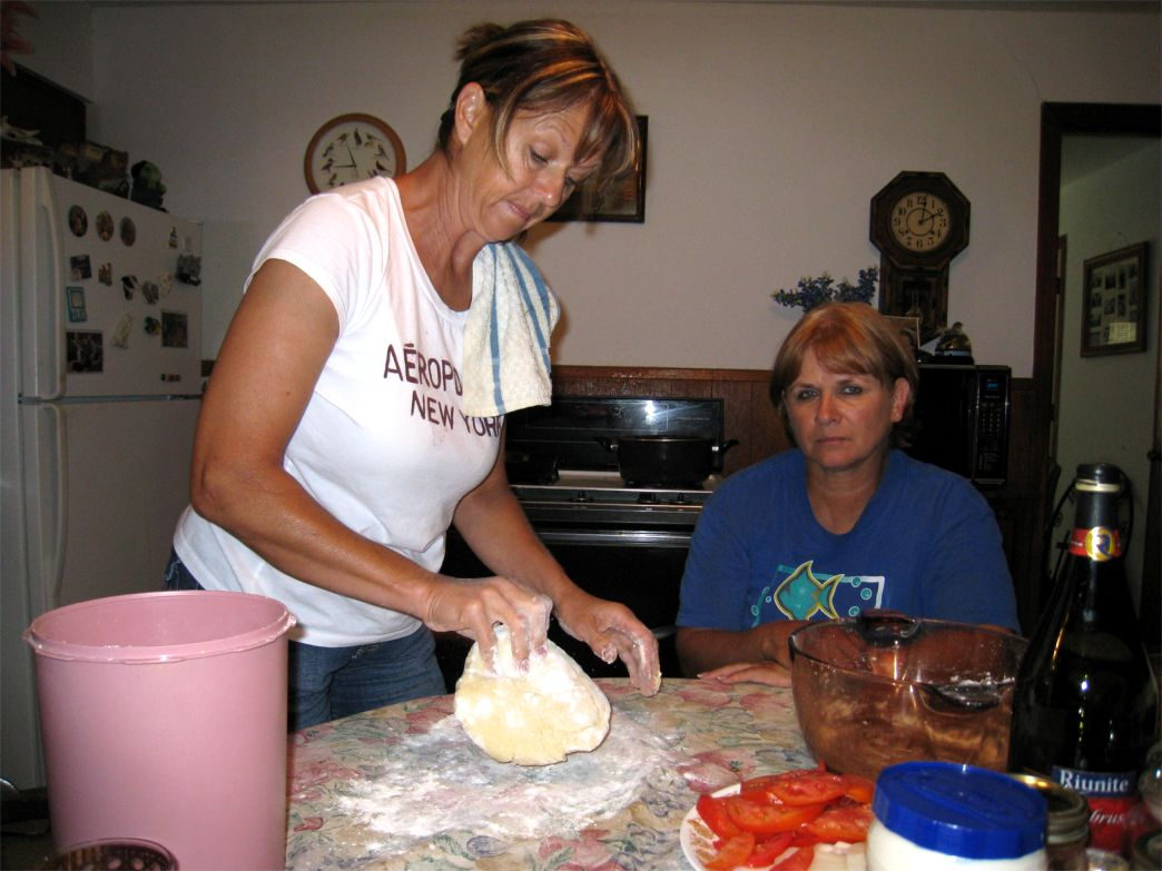 Helen & Mary Ann making dough
