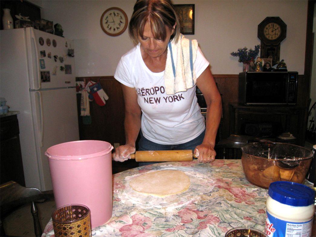 Helen, rolling dough