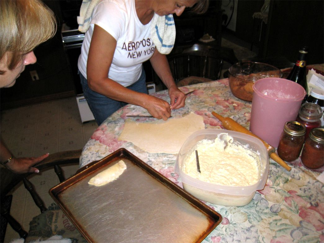 Helen cutting dough