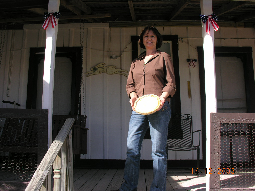 Helen Okonski Hays with mother's raisin pie